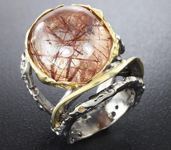 Кольцо из рутилового кварца