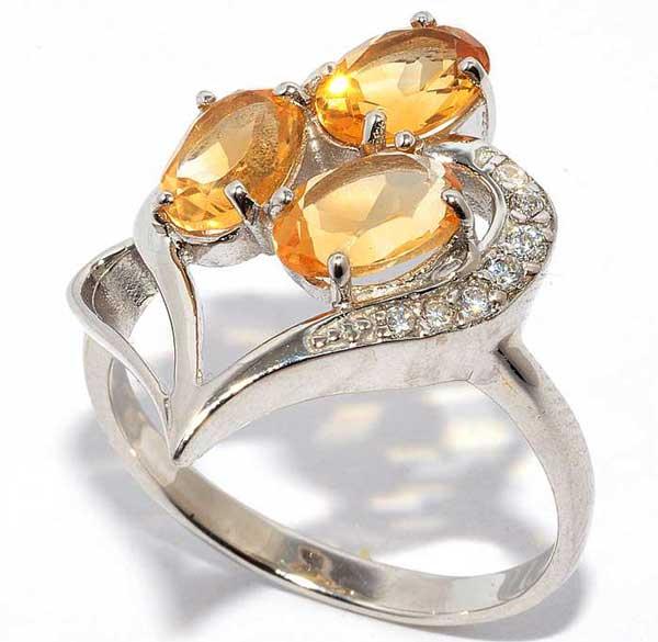 кольцо с желтым цирконом