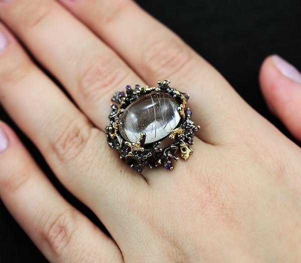 Серебряное кольцо из рутилового кварца