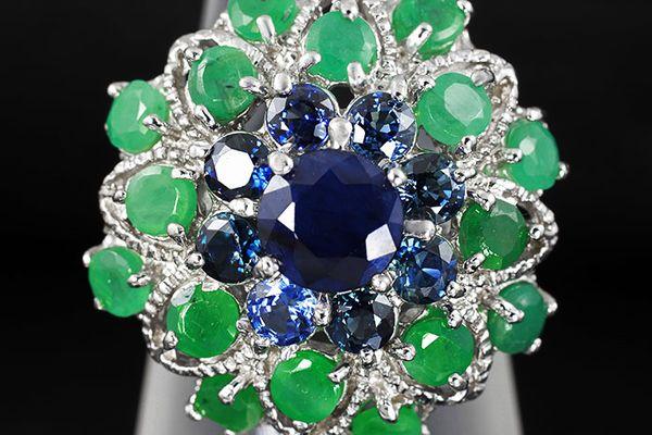 Кольцо с изумрудом алмазом сппфиром