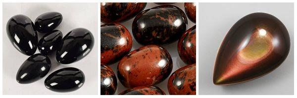 Обсидиан черный коричневый красный